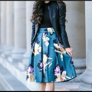 Floral Pleated Teal Skirt